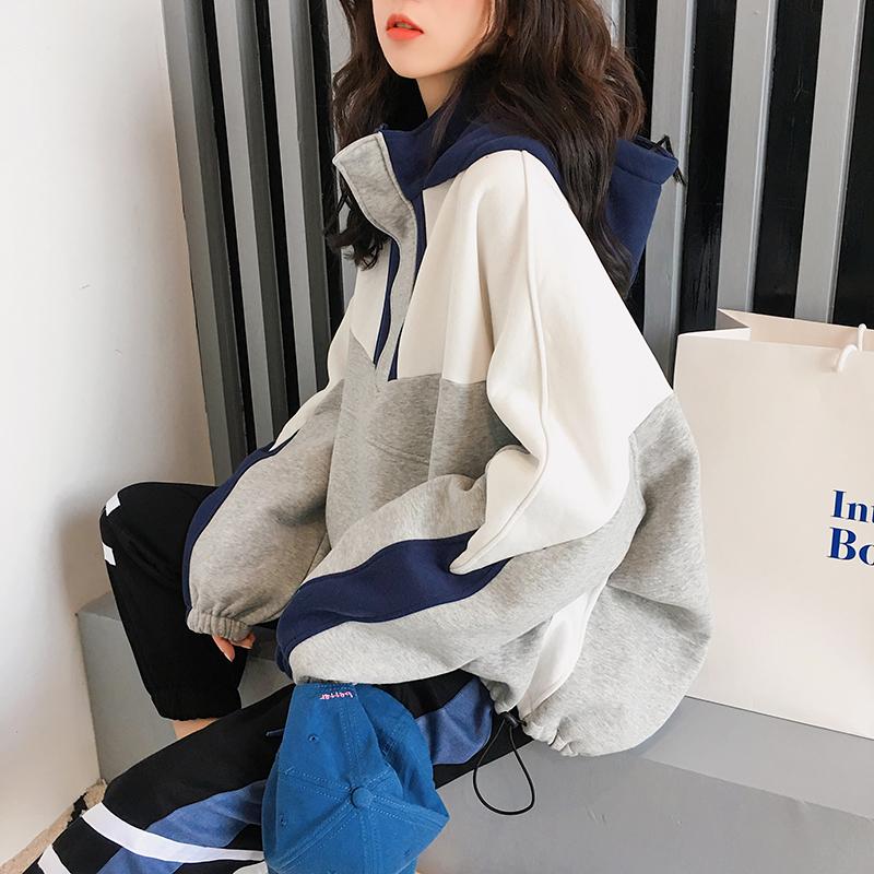 加厚加绒卫衣女连帽2018新款长袖韩版宽松ins超火的上衣冬季外套
