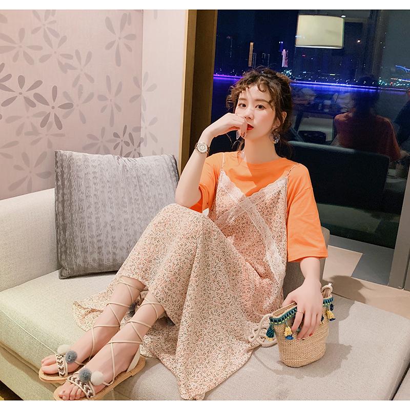 很仙的网红显瘦洋气法式小众连衣裙T恤两件套女2019新款俏皮套装