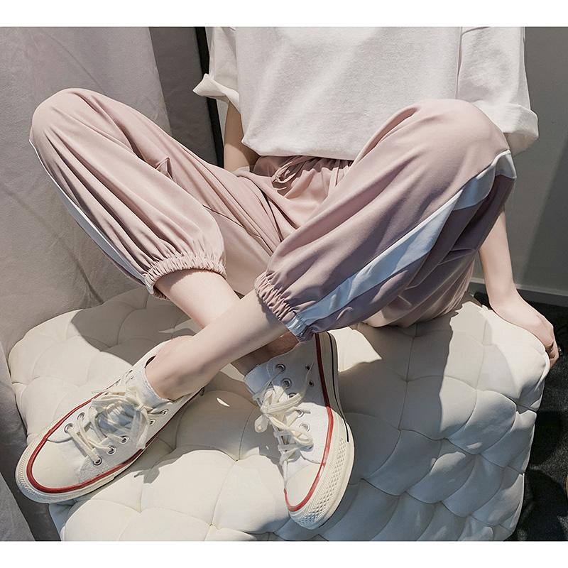 休闲宽松运动裤束脚裤女学生2019夏装新款直筒显瘦薄裤子韩版潮流