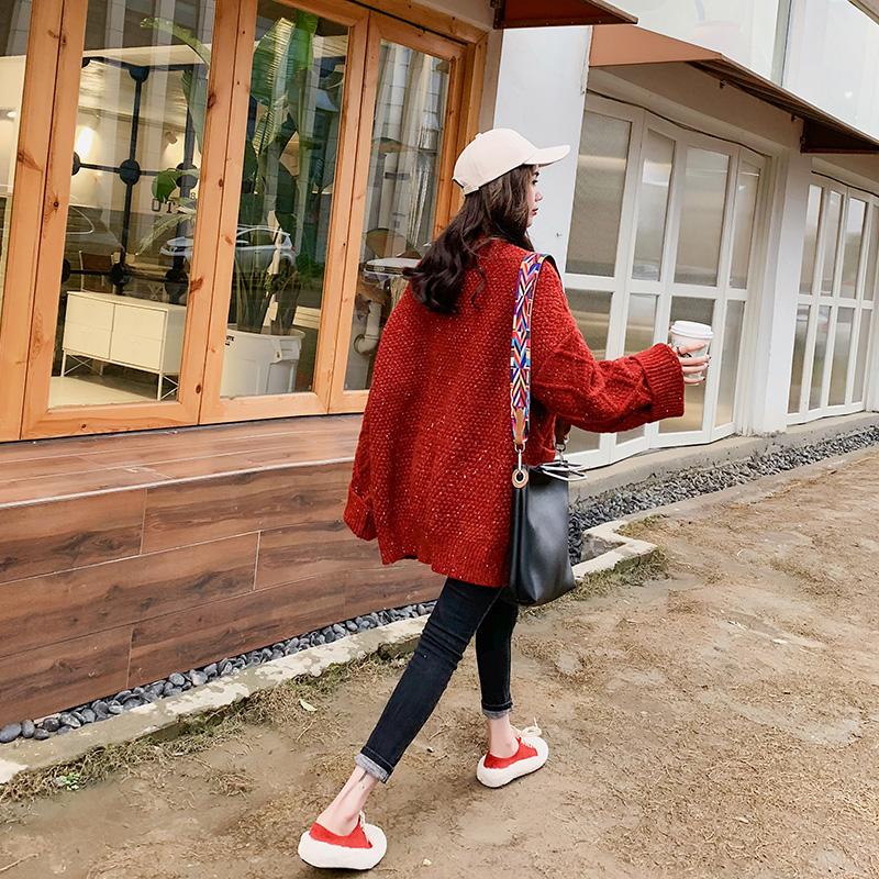 红色毛衣女开衫加厚外套2018新款宽松v领针织衫慵懒风网红上衣服