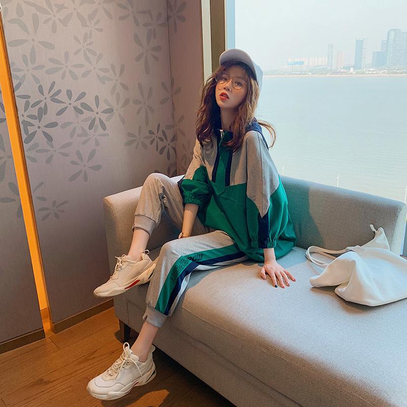 很仙的韩版休闲运动两件套洋气减龄女2019夏季新款网红套装姐妹装