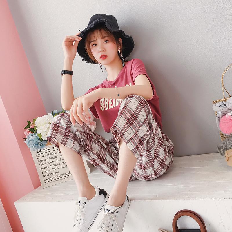 韩版港味复古套装女夏2018新款时尚网红两件套休闲阔腿裤省心搭配