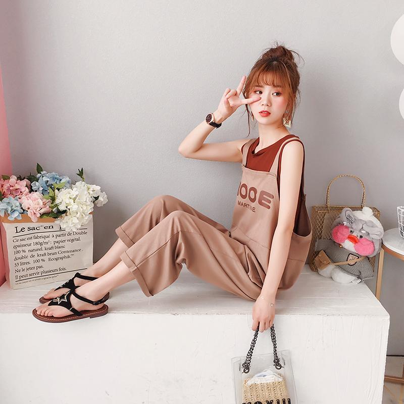 韩版宽松背带裤短袖上衣网红俏皮套装女夏港味复古洋气两件套洋气