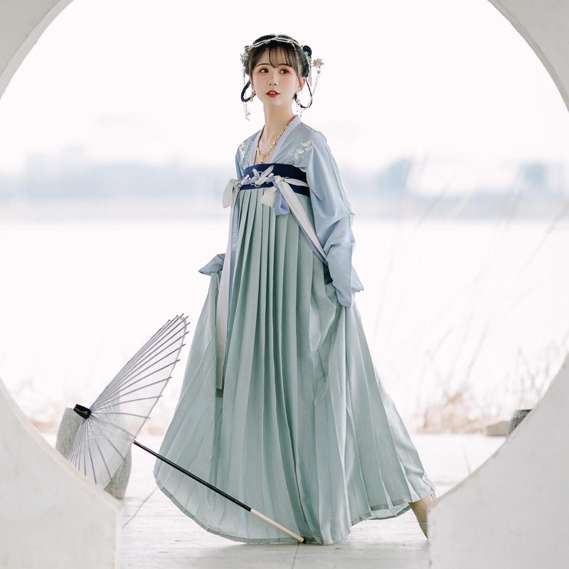【流烟昔泠-临安】春夏传统汉服套装女装银杏飞鹤刺绣齐胸襦裙