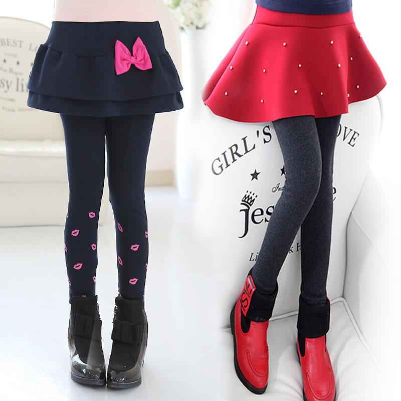女童2018新款假两件裤裙儿童裙裤带裙打底裤大童加绒加厚洋气裤子