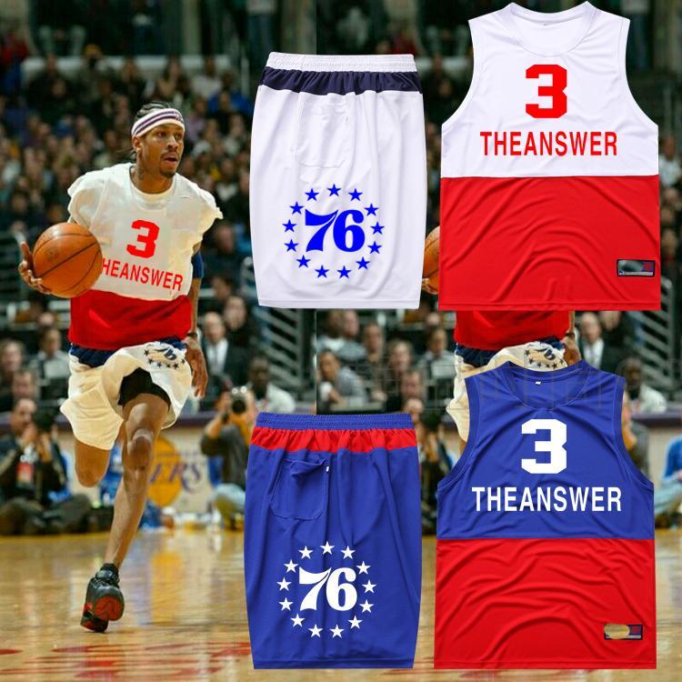76人艾弗森3号男女篮球衣篮球服训练服比赛diy定制套装团购包邮