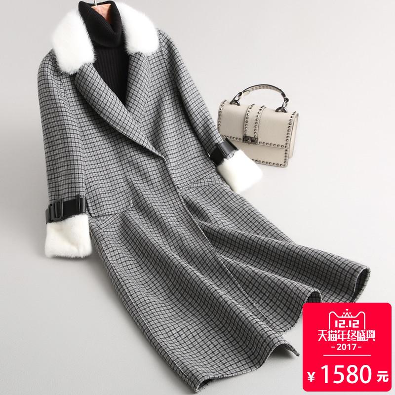 双面呢羊毛呢子大衣女装毛呢外套女中长款水貂毛皮草外套2017冬季