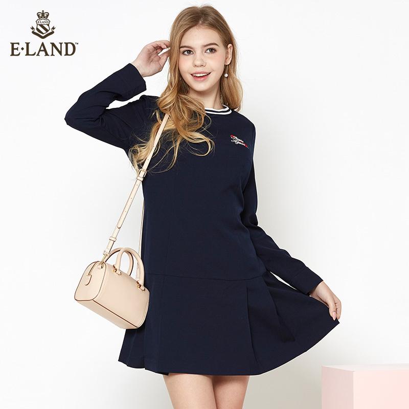 限时549|ELAND18女装新品撞色罗纹领口刺绣图案纯色中长连衣裙