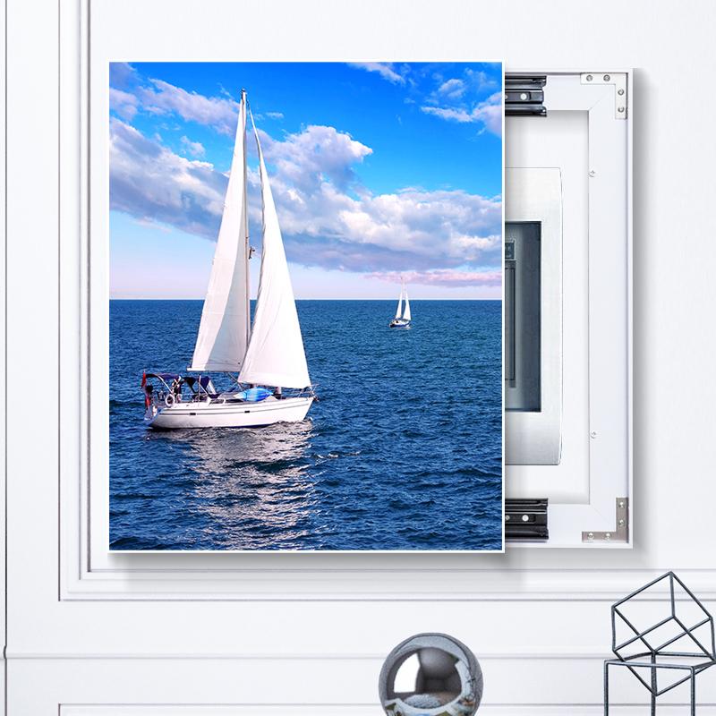 电表箱装饰画竖款免打孔客厅竖版北欧现代简约遮挡可推拉配电箱盒