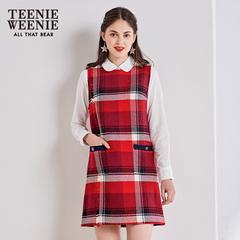 TeenieWeenie小熊新款女装格纹无袖过年连衣裙格子背心裙休闲裙子