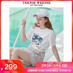 TeenieWeenie小熊2019夏季新款女装字母印花风景图案短袖圆领T恤