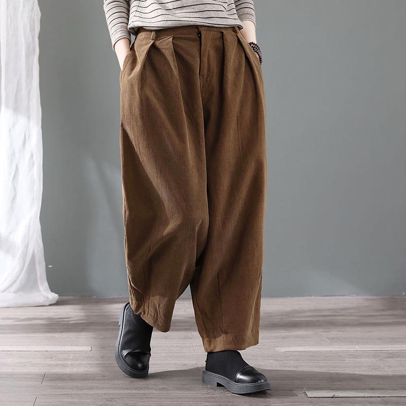 复古大码灯芯绒灯笼裤女宽松外穿休闲哈伦裤秋季大码条绒萝卜长裤