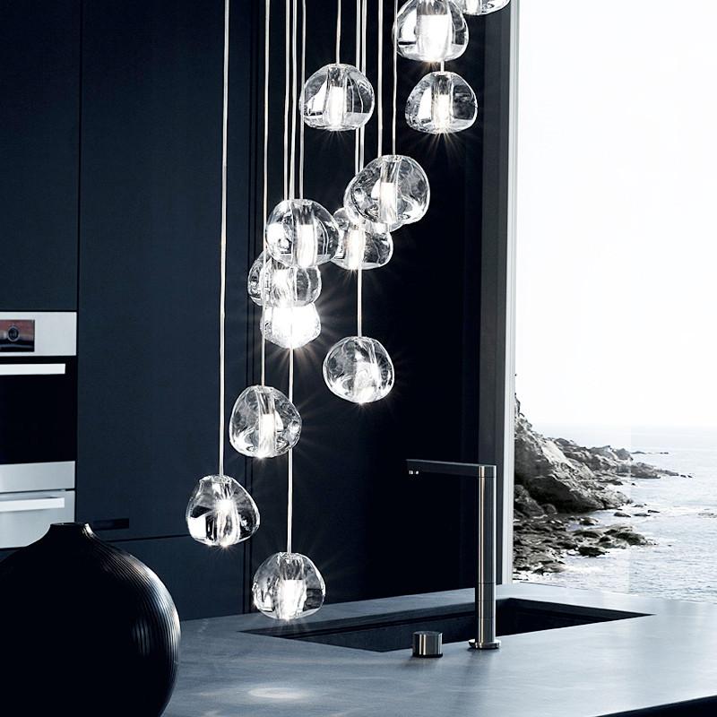 餐厅吊灯现代简约客厅灯具 楼梯吊灯复式楼大厅玻璃吊灯创意个性