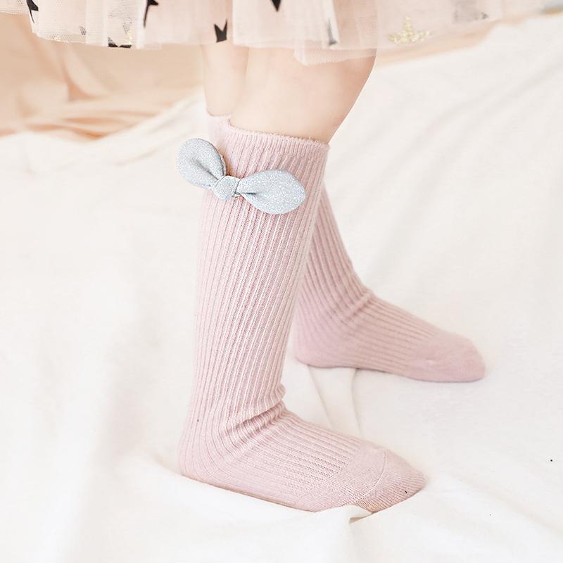 3双 女童袜子秋冬儿童长筒袜婴儿过膝袜松口无骨纯棉袜宝宝高筒袜