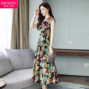 连衣裙女夏装短袖韩版气质花色收腰显瘦2019夏季新款女装时尚裙子