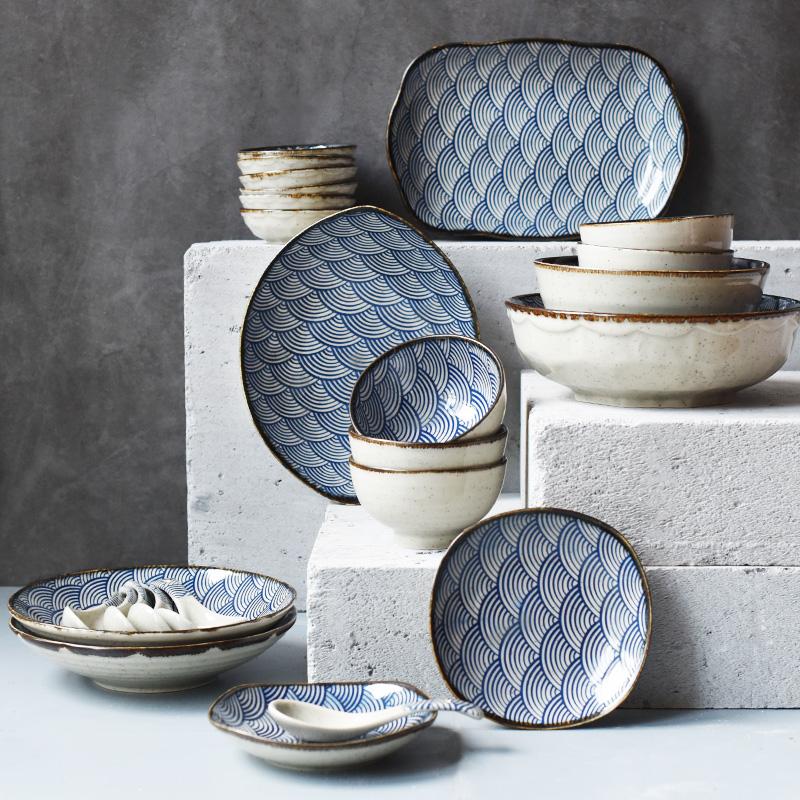 半房杂货日式26头家用陶瓷餐具套装饭碗菜盘碟子汤碗面碗日料鱼盘-半房杂货-12月