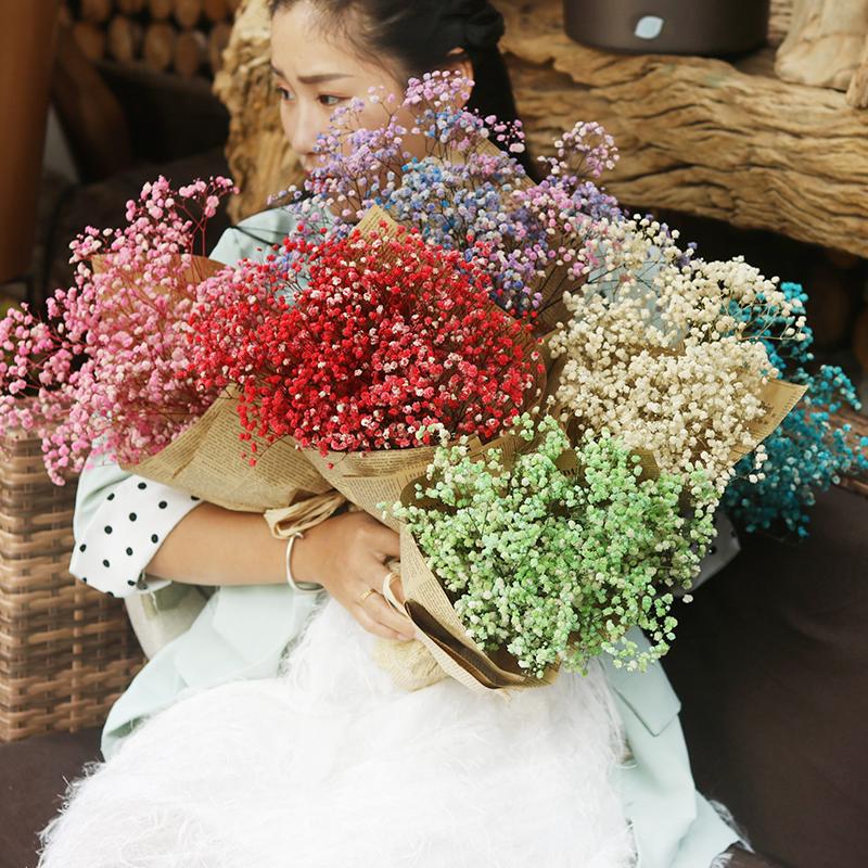 拾花酿春 天然干花花束满天星超大手工干花客厅餐桌装饰插花摆设