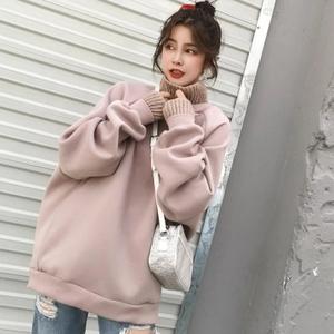 胖MM新款秋冬季加绒加厚拼接上衣大码女装韩版200斤宽松显瘦卫衣
