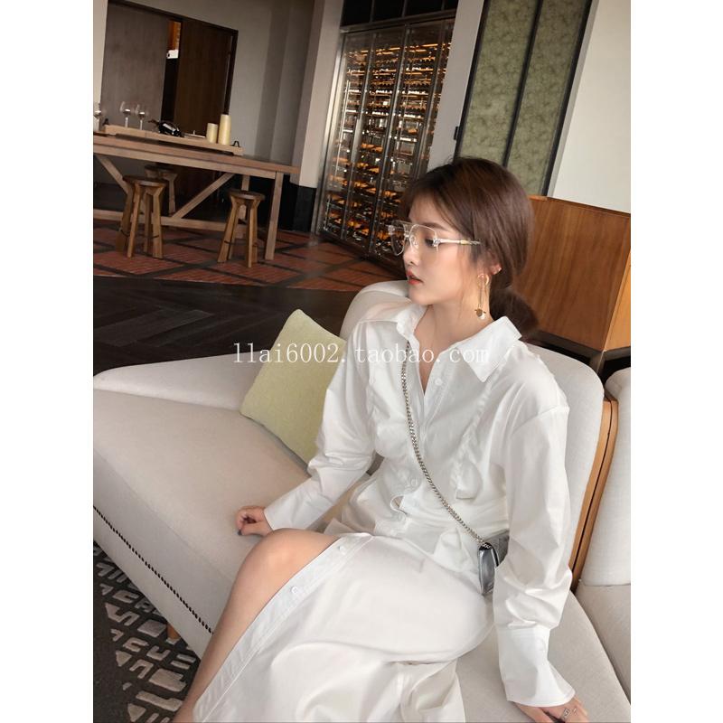 来来春季新款气质高腰衬衫裙棉长袖单排扣修身收腰长款白色连衣裙