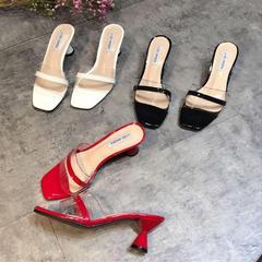 拖鞋女夏,2018,新款,韩版,透明,高跟,黑色,时尚,沙滩鞋,白色