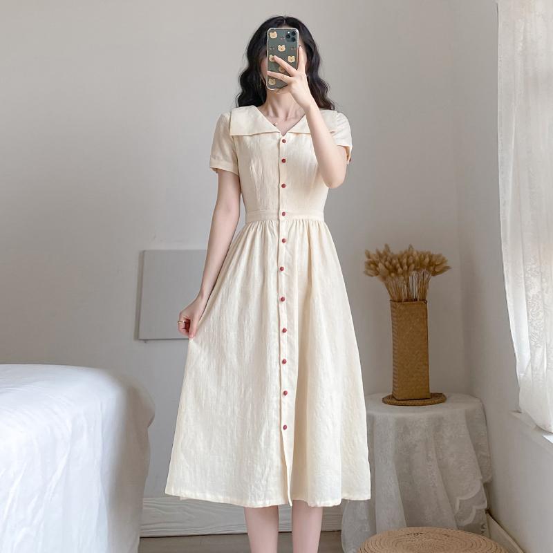 麦子熟了实拍# 收腰遮跨法式复古桔梗连衣裙中长裙 控价+30 -