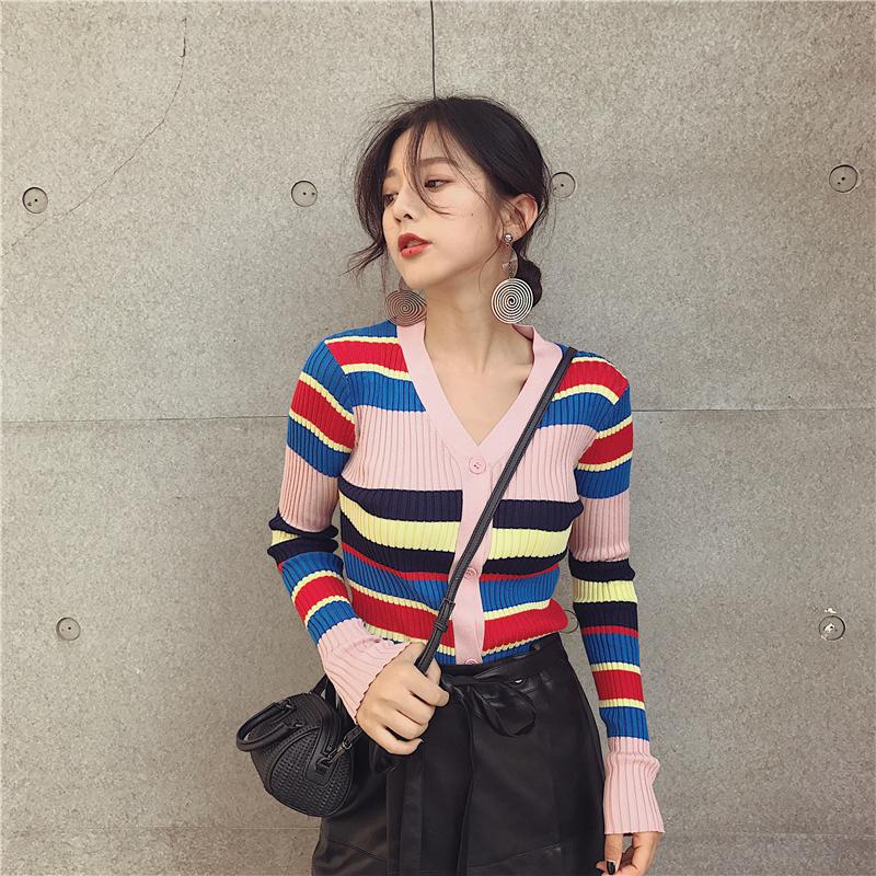 春秋装新款女装短款条纹针织衫开衫女弹力修身V领毛衣小外套上衣