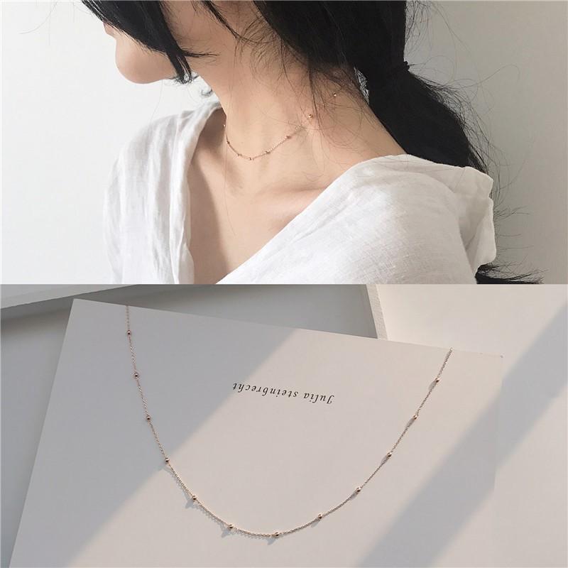 choker少女细项链项圈日韩纤细复古间隔小珠短款颈链锁骨链X148