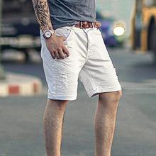 特价五分hh1微弹力机kx裤 男款牛仔中裤 夏天白色牛仔裤K771