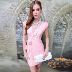 Summer pink dress doll summer 2015 temperament slim bubbles Pink ladies short sleeve dress