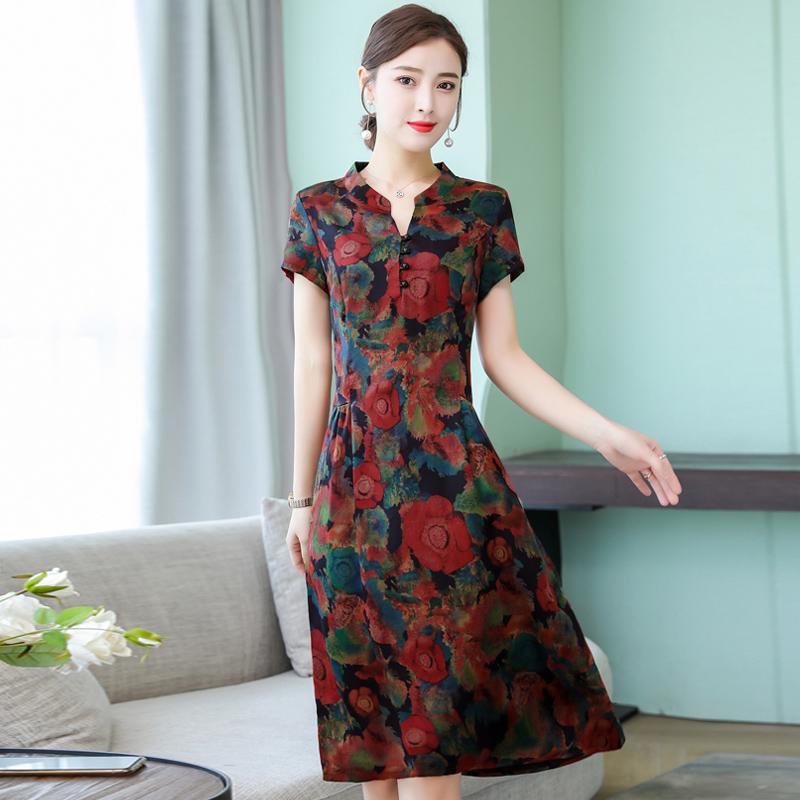 改良版旗袍修身夏装新款中国风复古气质中年妈妈装高贵碎花连衣裙