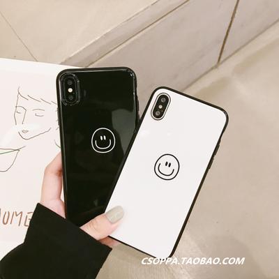简约黑白情侣笑脸苹果8手机壳iPhoneX/7/6s/plus光面软壳套男女款 拍下19.9元包邮