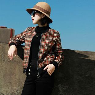 棒球服女秋冬加厚2020冬季新款韩版百搭格子女士短款加棉夹克外套图片