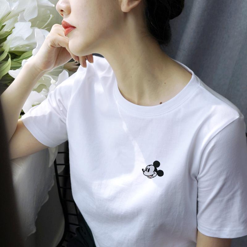 小雏菊米奇t恤女白色短袖纯棉宽松2020年夏新款韩版卡通印花上衣