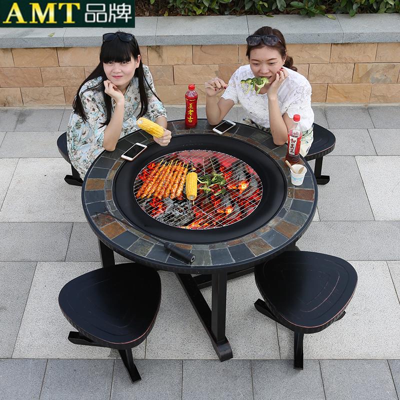 户外烧烤桌椅家用木炭架烧烤炉庭院花园露天铁艺休闲室外铸铝桌椅