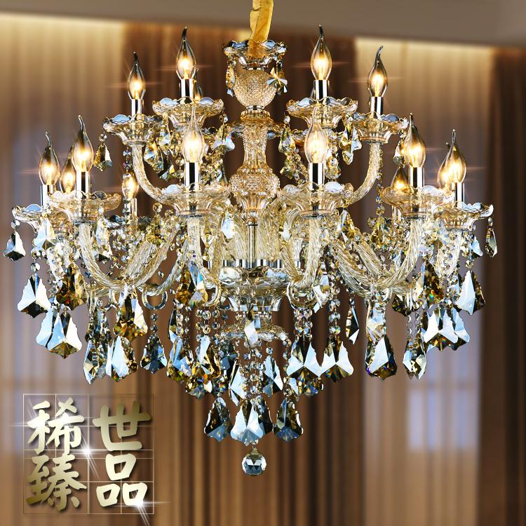 欧式水晶吊灯干邑色欧式蜡烛水晶吊灯客厅灯餐厅灯卧室吊灯书房灯-雷尼亚水晶照明
