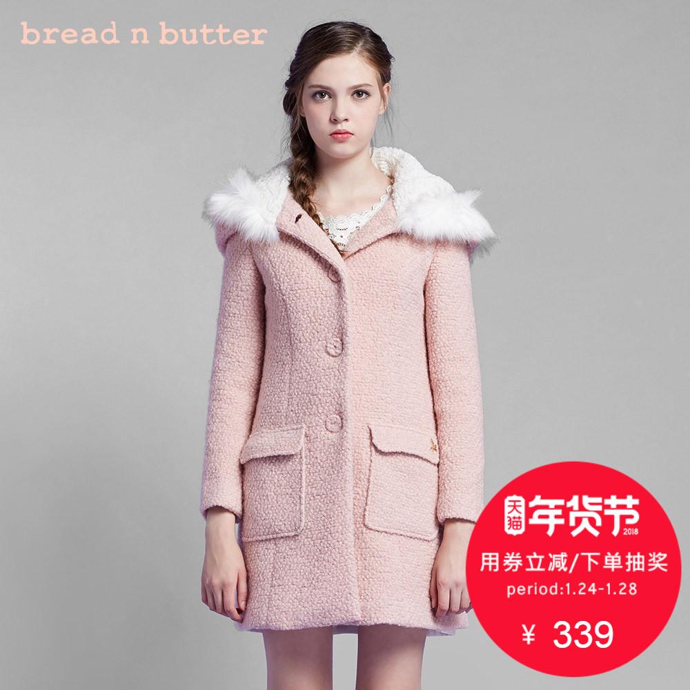 【年货节】bread n butter 冬季甜美大衣修身显瘦加厚毛呢外套女