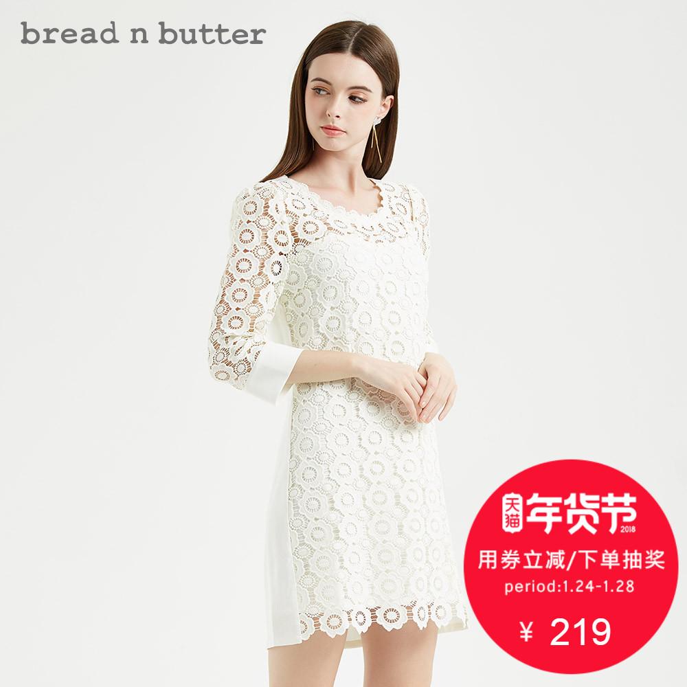 【年货节】bread n butter初冬气质A字裙蕾丝镂空七分袖连衣裙女