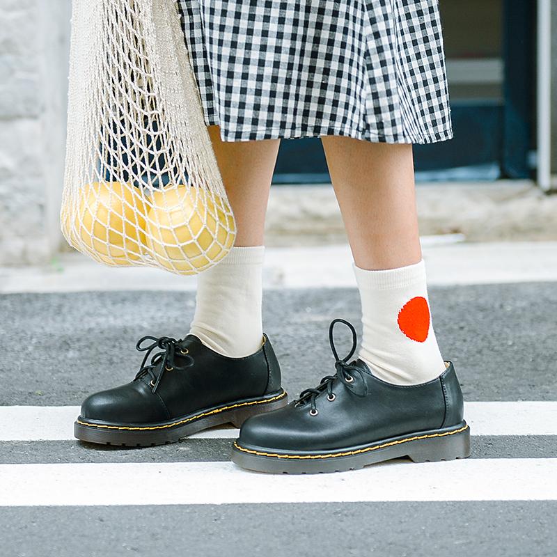 原创软妹学院风小皮鞋系带马丁森系日系女鞋圆头文艺复古单鞋平底