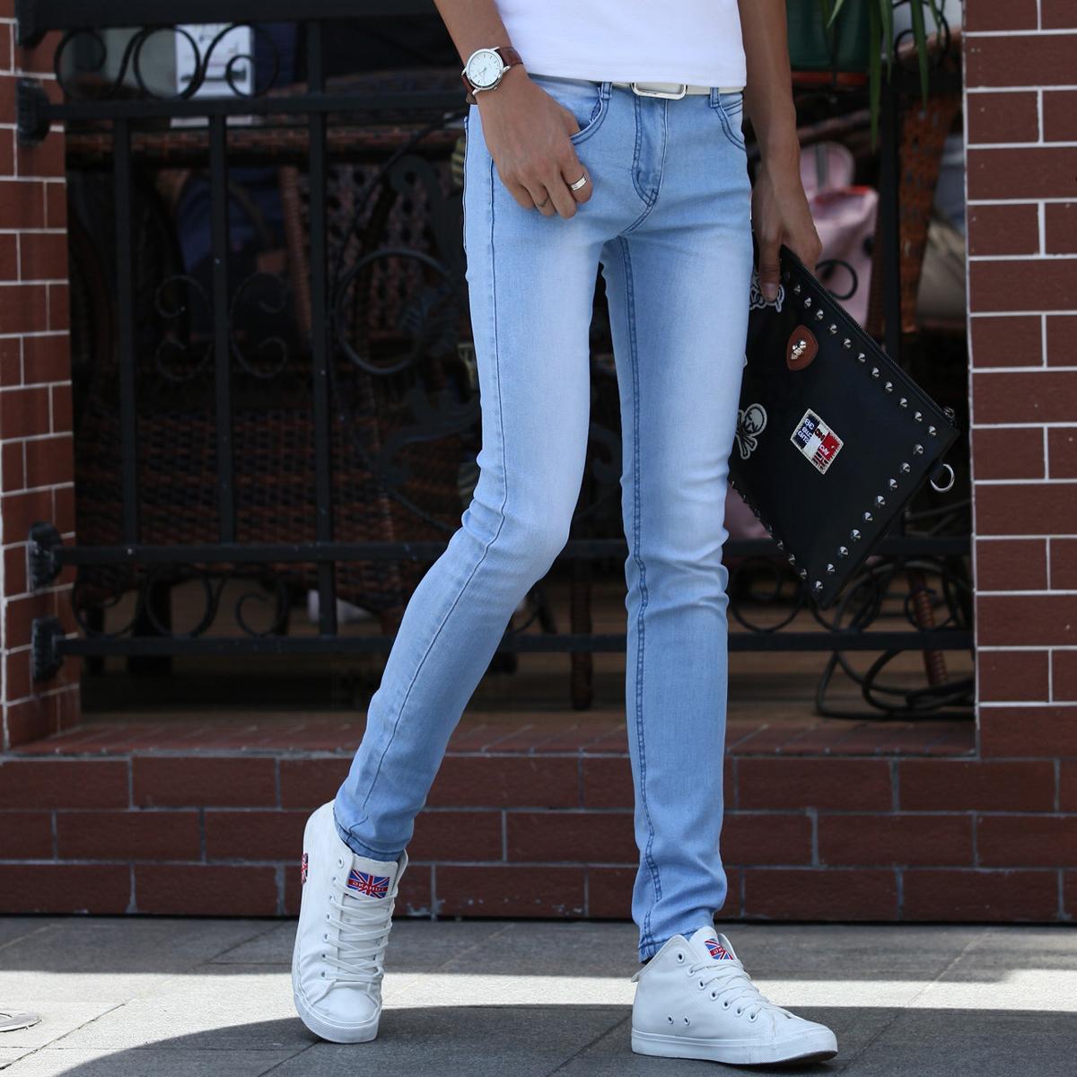 青少年秋季新款牛仔裤男士弹力修身小脚韩版潮流学生紧身显瘦裤子