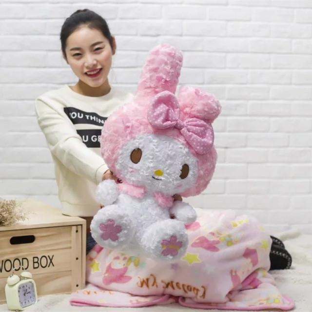 日本樱花款玫瑰绒美乐蒂melody毛毯玩具公仔抱枕毯送男女生日礼物