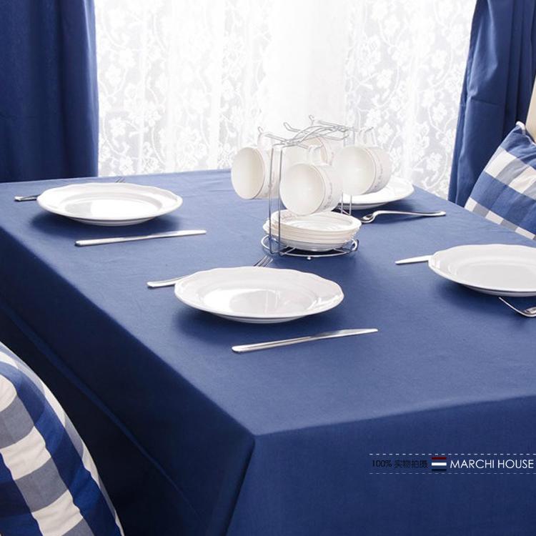 地中海藏蓝色餐桌布深蓝色布艺茶几桌布防水防烫台布客厅长方形