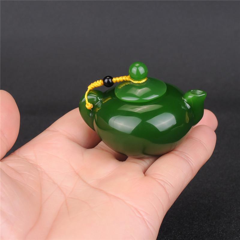 玉翡缘玉器新疆和田玉碧玉手壶把件菠菜绿碧玉壶手玩件水酒壶小