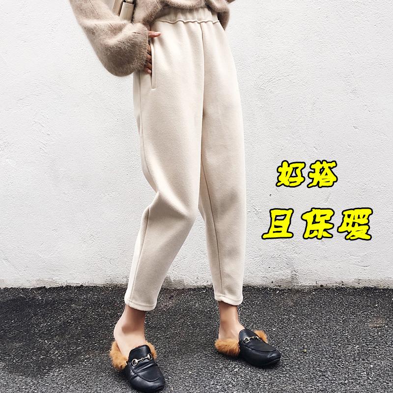 2017秋季新款韩版哈伦裤九分宽松百搭香蕉萝卜裤女冬小脚毛呢裤子
