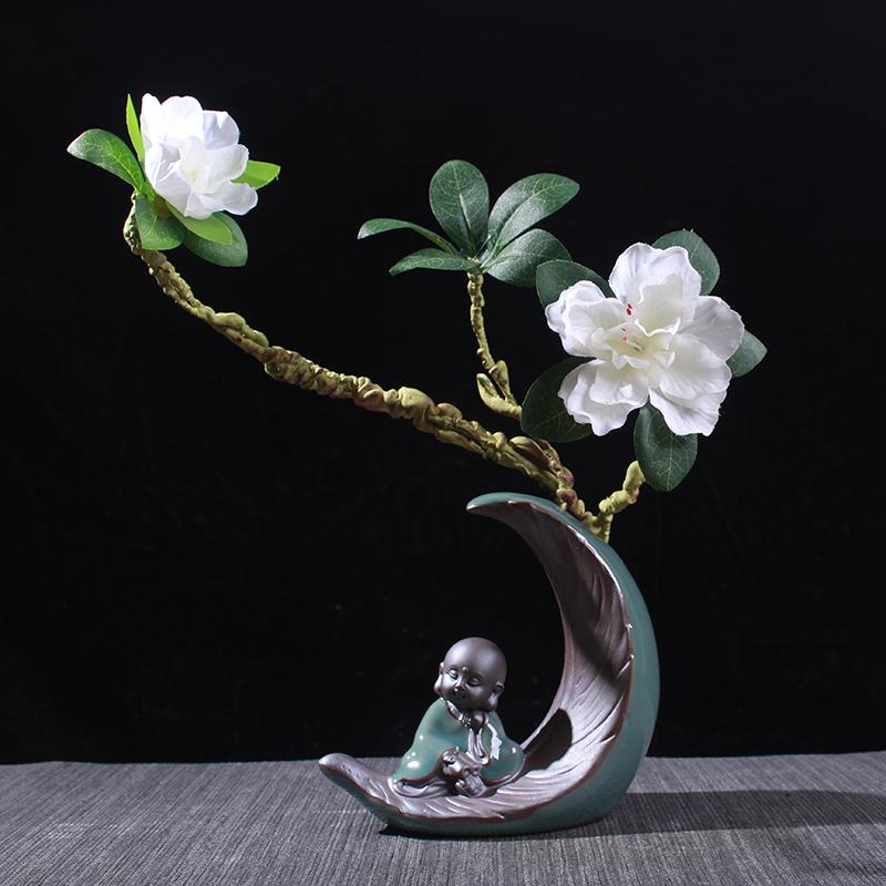 水培植物花器花盆禅意小和尚家居装饰人物摆件陶瓷室内客厅博古架