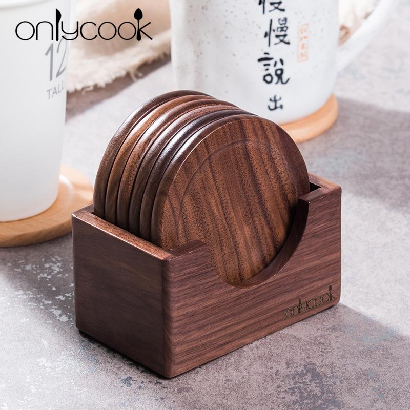 onlycook 胡桃木杯垫创意实木茶杯垫隔热垫套装 日式木质防烫杯垫