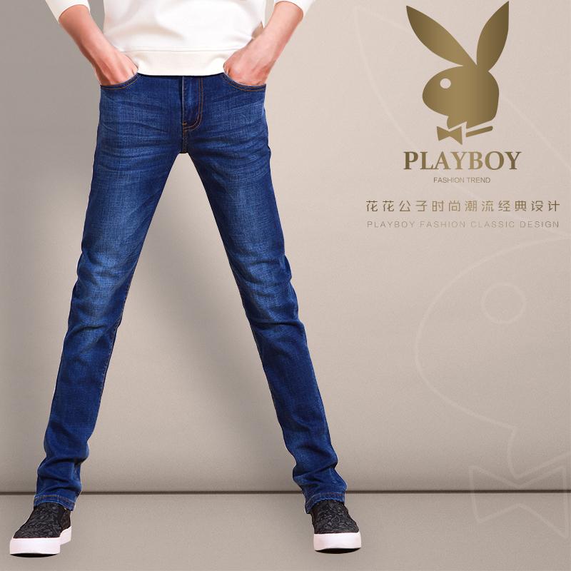 花花公子秋季弹力牛仔裤男士修身薄款小脚长裤商务宽松青年裤子男
