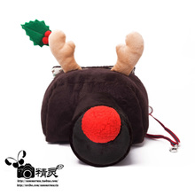 冯叔 可爱复古斜跨 女韩国单反单yu13相机包ke手工圣诞(小)鹿