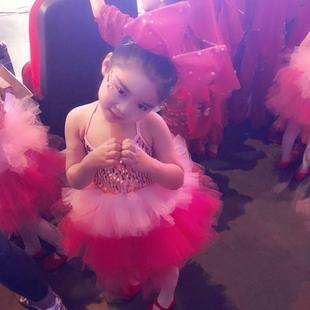 儿童蓬蓬连衣裙演出服女童亮片现代舞蹈纱裙表演幼儿粉可爱蛋糕裙图片