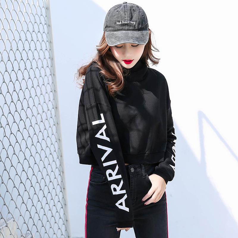 点击查看商品:高腰卫衣2018新款连帽套头宽松秋装长袖上衣黑色短款加绒卫衣女