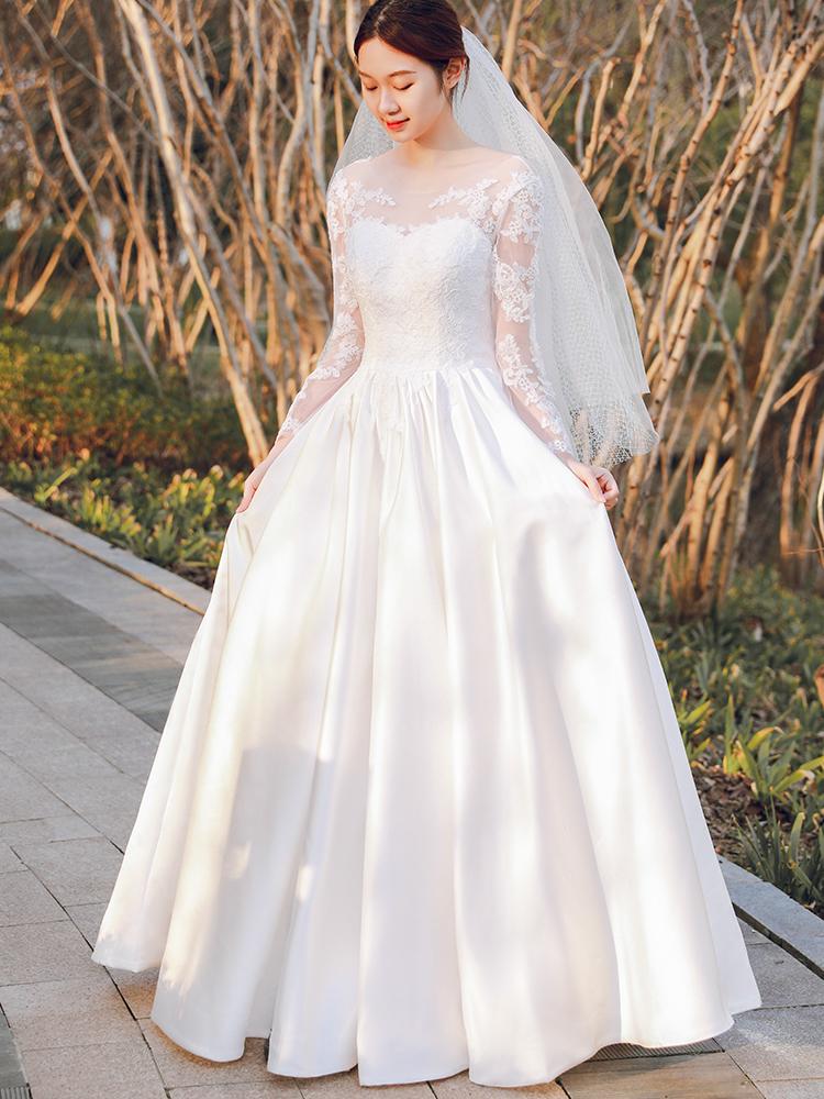 【狂欢价】法式赫本缎面轻婚纱森系女婚纱主纱